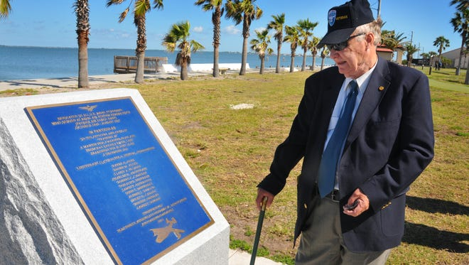 Retired Army Capt. Jon Myhre on Tuesday morning admired a new memorial for the 13 service members of Training 49, who were never heard from again after taking off from Naval Air Station Banana River on Dec. 5, 1945, to search for the missing Flight 19. Myhre, of Sebastian, and Suntree resident Mike Gaffey were instrumental in getting the memorial approved, built and installed at what is now Patrick Air Force Base.