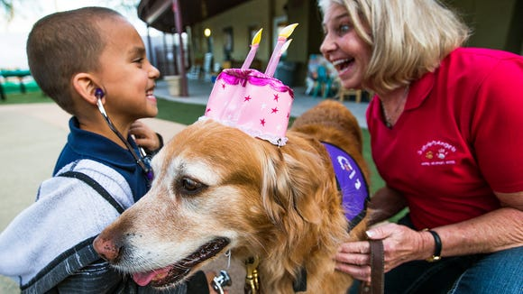 Connie Genrich, right, a volunteer with Gabriel's Angels, gets a big smile from 6-year-old Cameron, as he uses a stethoscope to listen to therapy dog Codi's heart.  Two golden retrievers, Codi and Bear, were brought to the UMOM shelter in Phoenix to dole out healing therapy for at risk children, Thursday, January 8, 2015.  The hat on Codi was to celebrate her 10th birthday.