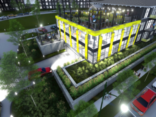 an artist rendering of how the Six Points Market Apartments will look at night