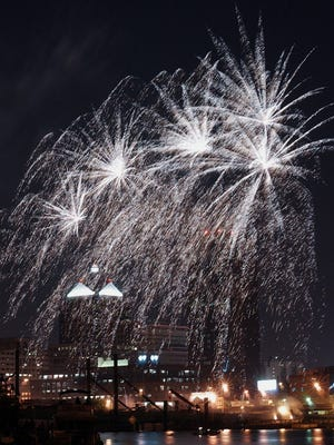 Fireworks over the Rochester skyline on July 4, 2005. The town of Greece plans to reinstitute its Fourth of July celebration.