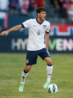 Brad Evans of the U.S. dribbles against Panama during the FIFA 2014 World Cup Qualifier at CenturyLink Field on June 11, 2013 in Seattle.