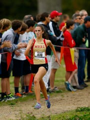 Sydney Bradle of Mount Olive comes into the finish of the 45th Morris County girls cross country championships at the new Central Park of Morris County Greystone course. October 25, 2017. Morris Plains, New Jersey