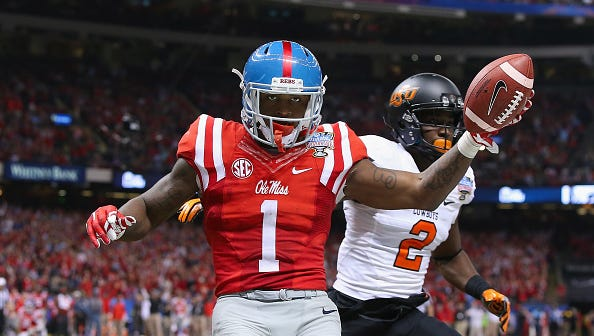Former Ole Miss wide receiver (1) Laquon Treadwell celebrates scoring a 14-yard touchdown against Oklahoma State in last season's Sugar Bowl.