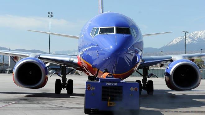 A Southwest Airlines plane at Reno-Tahoe International Airport.