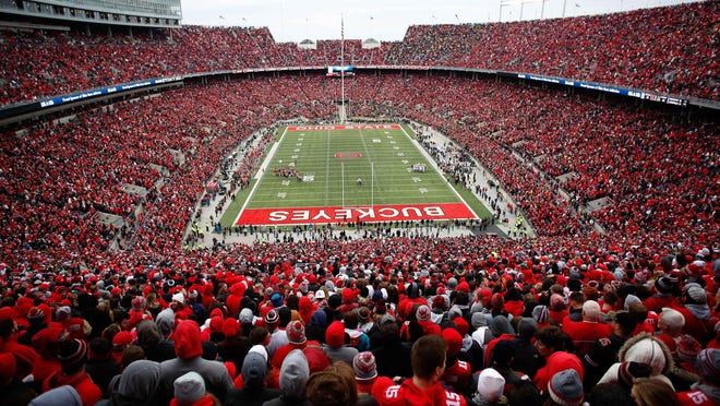 Nov 26, 2016; Columbus, OH, USA;  General view of Ohio Stadium while hosting the largest crowd in stadium history against the Michigan Wolverines in 2016. Ohio State won 30-27. Mandatory Credit: Joe Maiorana-USA TODAY Sports
