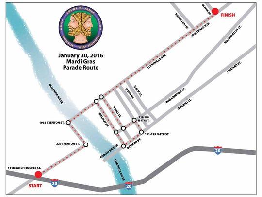 2016 Krewe of Janus Parade Route