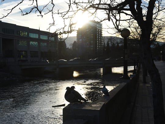 The Truckee River flows through downtown Reno on Dec.