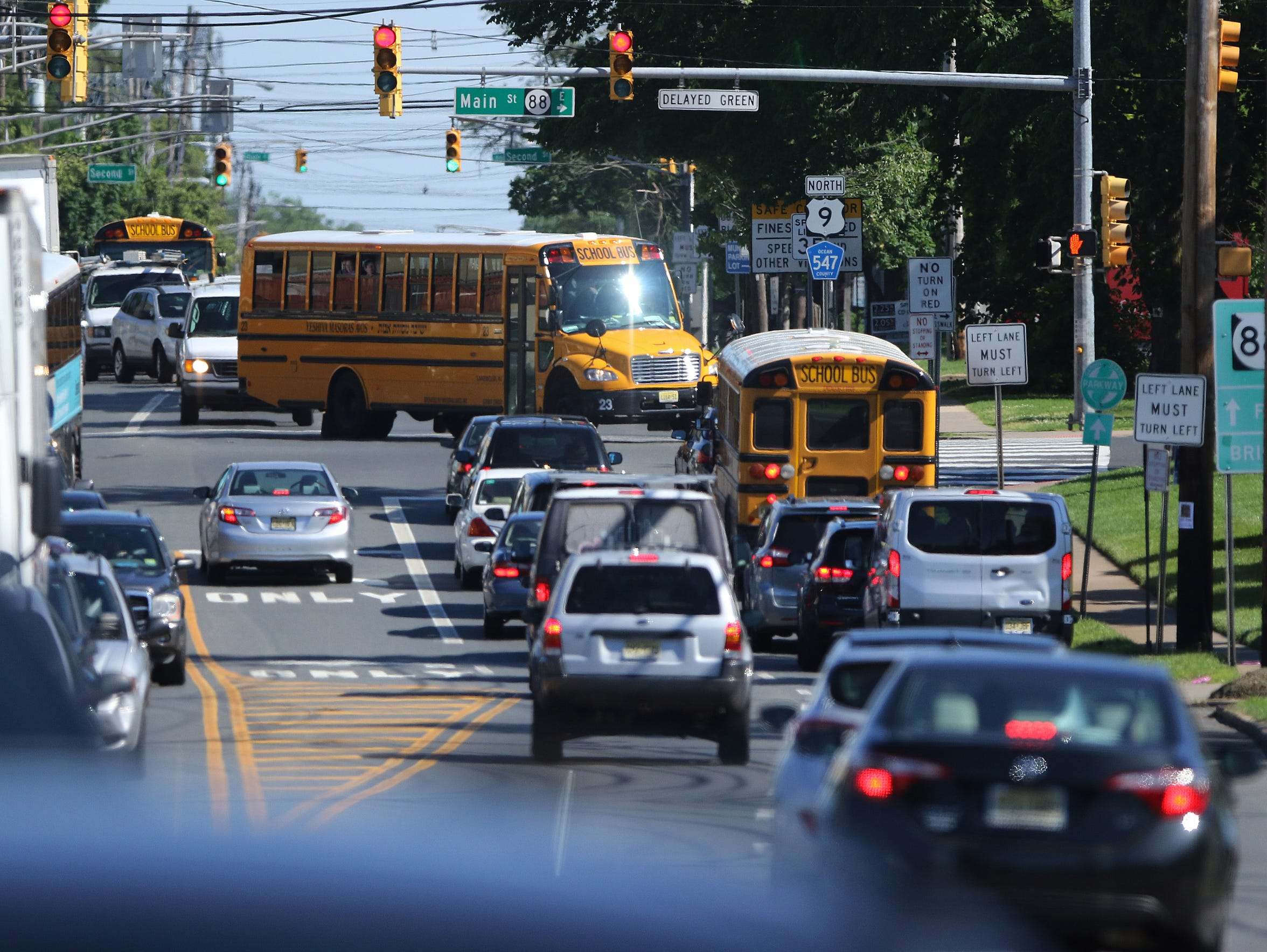 A school bus turns onto Rt. 88 in Lakewood, New Jersey.