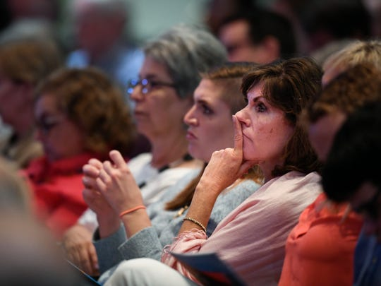"""Guests listen during a Civility Tennessee discussion called """"Why Aren't Tennesseans Voting Like They Should"""" at Lipscomb University Monday, Aug. 27, 2018, in Nashville, Tenn."""