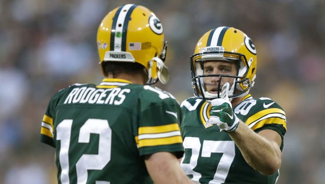 Green Bay Packers' Jordy Nelson and Aaron Rodgers.