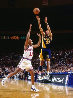 Trailing by six points with 18.7 seconds on the clock, Reggie Miller stunned Madison Square Garden with an eight-point eruption (in just under nine seconds) to give Indiana a shock win in Game 1 of the 1995 Eastern Conference Semifinals. This was Miller's second infamous explosion at the Garden, coming one year after he dropped 25 fourth-quarter points during his beef with Spike Lee. Both games ended the same way, however, with Miller sprinting off the court yelling that the Knicks were choke artists.