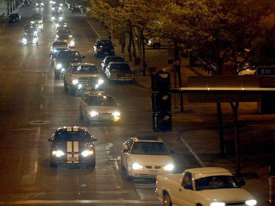 Loop scoopers drive down Locust Street in 2003.