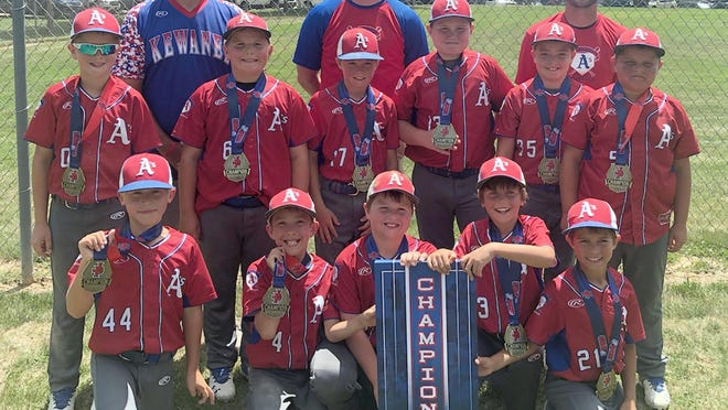 The Kewanee A's 9U won the championship of the JP Sports Summer Turf Classic in Bettendorf and Dewitt, Iowa. Front row, from left,  Jace Nichols, Cainen Winter, Ace LaFollette, Easton Blake, Walker Colomer, middle row, Pierce Childs, Eli Dennison, Baylor Franknreider, Jaton Huber, Reid Nichols, Myer Heitzler; back row, assistant coaches Chris Colomer and Matt Huber and coach John Blake. In bracket play, the Kewanee A's beat the LP Cavaliers 12-3 and the Kendall County Rebels 11-4.
