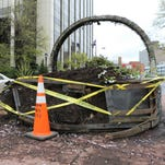 The giant flower basket planter at Mitchell Place and South Broadway in White Plains was damaged in an early morning accident, May 4, 2016.