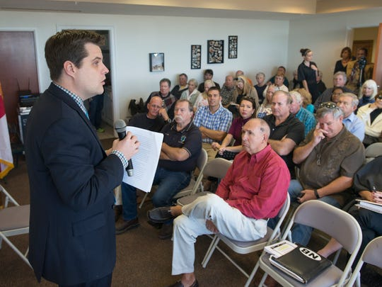 U.S. Rep. Matt Gaetz, R-Fort Walton Beach, speaks during a public forum on Monday, Nov. 27, 2017, in Navarre.