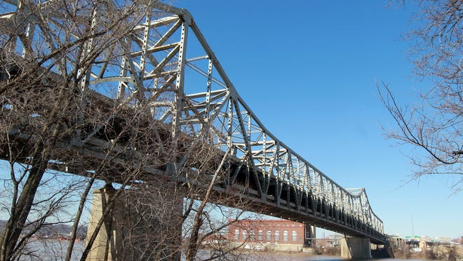 View of the Brent Spence Bridge from the Covington riverbank looking north and slightly west.