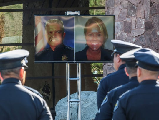 "Officers arrive at the Palm Springs Convention Center In October 2016 for the memorial service of fallen Palm Springs police officers Jose ""Gil"" Vega and Lesley Zerebny. The defense in the trial against their accused killer began on Wednesday, May 1, 2019."