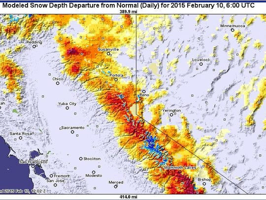 Snow depth throughout the Sierra Nevada is thinner