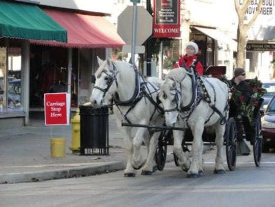 Horse-drawn carriage rides are offered through December in downtown Waukesha.