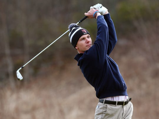Morristown Beard's Fran Randazzo tees off from the first tee during the K-Golf Classic at Berkshire Valley Golf Club. April 11, 2018. Jefferson, NJ.