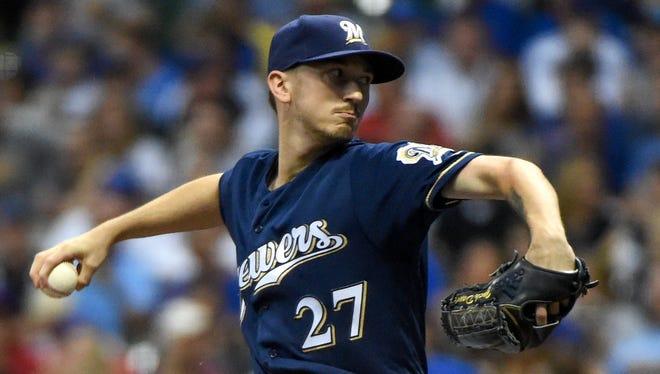 Brewers pitcher Zach Davies allowed just two earned runs in seven innings of work Thursday.