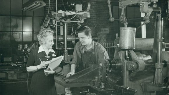 "A scene from Floorola, a maker of floor waxing machines. The York company retool to do defense work. How did women adapt to factory work? Here's one testimony from York Corporation's:  ""Before working here in the Yorkco shops I was employed in an office, and I can say that I like the shop much better. The work is different from that which women usually do, and I think my job is very interesting. Of course, there is the feeling that I am doing my duty, which makes the job more appealing."""