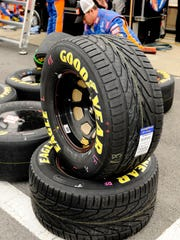 Rain tires being prepared for a NASCAR Nationwide Series race at Watkins Glen International in 2008.