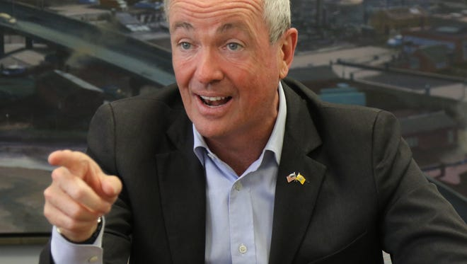 New Jersey Governor Phil Murphy talks with The Record statehouse reporter Dustin Racioppi about Murphy's first six months as governor. Here he is in the governor's annex office in Newark.