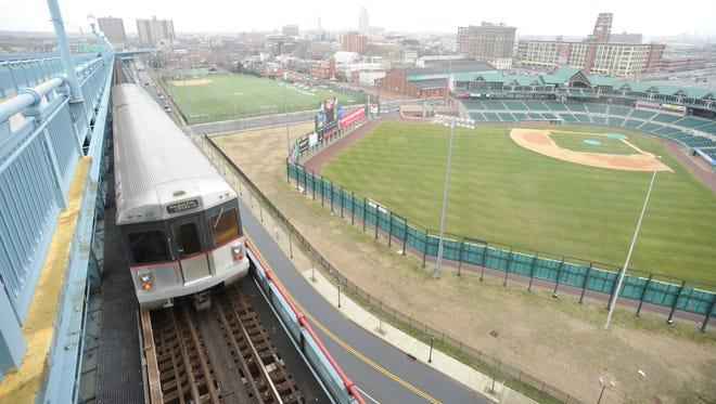 The PATCO Hi Speedline enters Camden on the Ben Franklin Bridge as it operates between Lindenwold and Philadelphia.