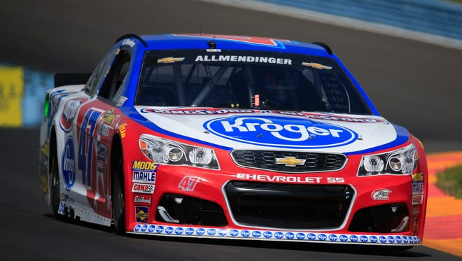 AJ Allmendinger practices Friday for the NASCAR Sprint Cup Series Cheez-It 355 at The Glen at Watkins Glen International.