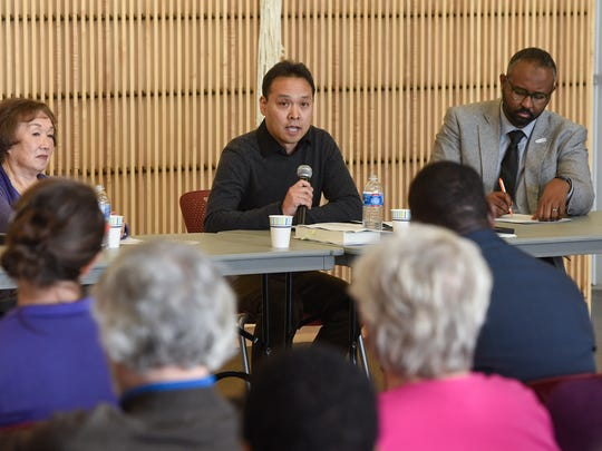 John Matsunaga speaks during a panel discussion Saturday, Nov. 18, at the St. Cloud Public Library.