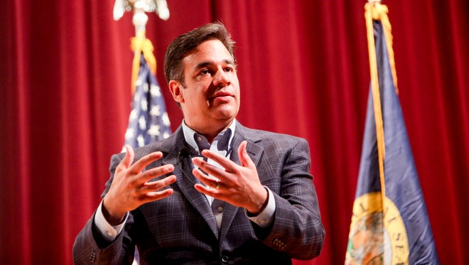 Rep. Raul Labrador speaks to constituents during a town hall in Meridian, Idaho, on April 19, 2017.