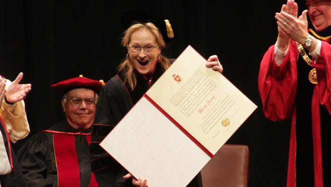 Academy Award winner, Meryl Streep, received a honorary degree from Indiana University  President Michael A. McRobbie on Wednesday.