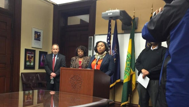 Mayor Lovely Warren makes the announcement about police body cameras Thursday.