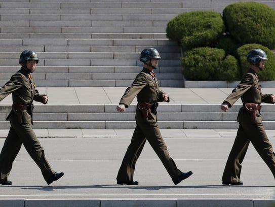 In this Wednesday, April 18, 2018 photo, North Korean