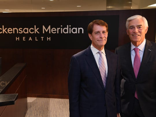 Hackensack Meridian Health CEOs Robert Garrett (left) and John Lloyd. On Wednesday, the hospital network announced a definitive agreement to merge with the Carrier Clinic.