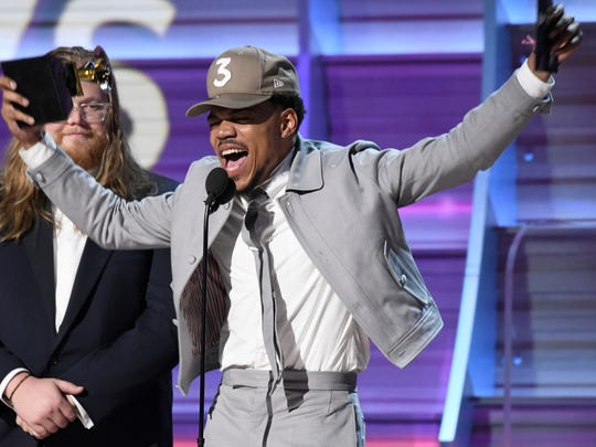 Chance The Rapper accepts the Grammy for Best Rap Album.