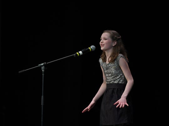 """""""Valley's Got Talent"""" at Northern Valley Regional High School at Old Tappan  on March 18, 2017. Fifth-grade student Sofia Cheetham, of Haworth, performs """"Rolling in the Deep."""""""