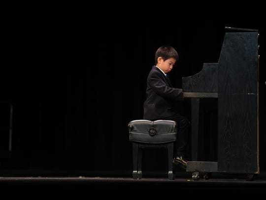 """""""Valley's Got Talent"""" at Northern Valley Regional High School at Old Tappan  on March 18, 2017. First-grade student Yixiang Ma, of Old Tappan, performs."""