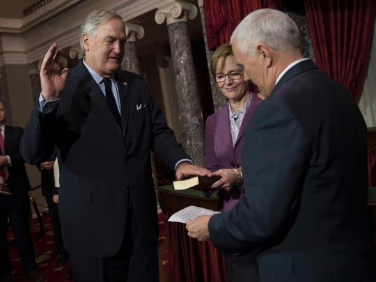 Vice President Pence performs a ceremonial swearing-in