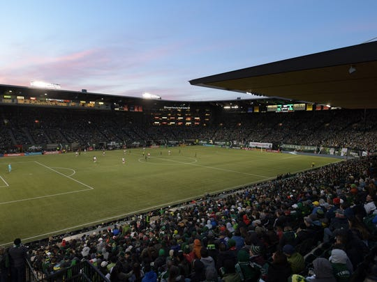 General overall view of Providence Park during a MLS soccer match between the New England Revolution and the Portland Timbers.