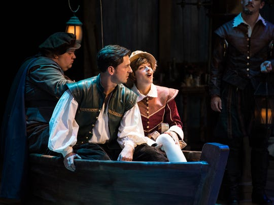 "Redge Palmer plays Boatman, Quinn Mattfeld plays Will Shakespeare and Betsy Mugavero plays Viola de Lesseps in the Utah Shakespeare Festival's 2017 production of ""Shakespeare in Love."""