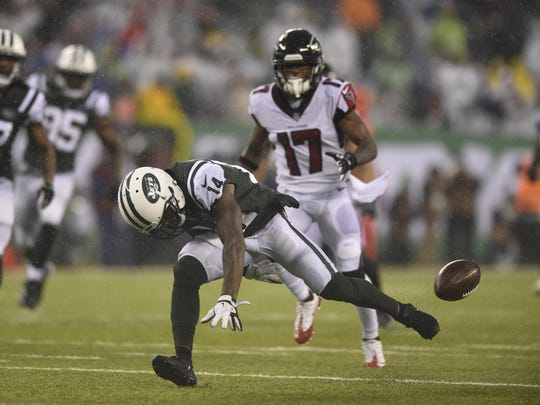 New York Jets wide receiver Jeremy Kerley (14) fumbles on a kick return and recovered by the Falcons in the fourth quarter. The Atlanta Falcons defeated the New York Jets 25-20 on Sunday, October 29, 2017 in East Rutherford, NJ.