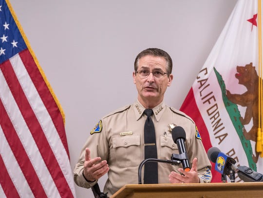 Tulare County Sheriff Mike Boudreaux speaks during a press conference.