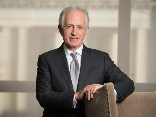 Sen. Bob Corker stands in his office in the Dirksen