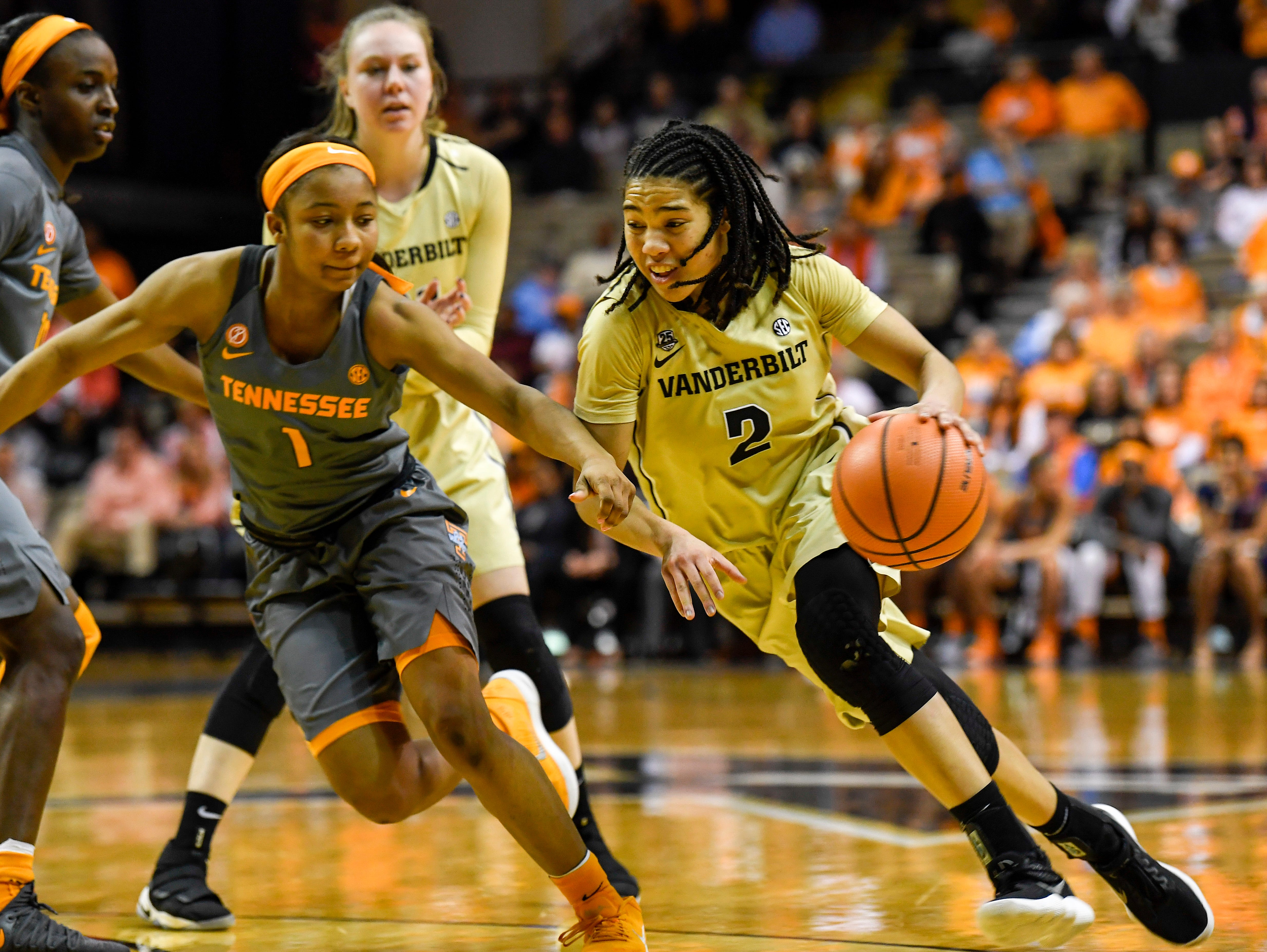 Tennessee Lady Vols Anastasia Hayes blocks Vanderbilt Commodores Chelsie Hall (2) during the second half of the game at the Vanderbilt Memorial Gymnasium in Nashville, Tenn., Sunday, Feb. 4, 2018.