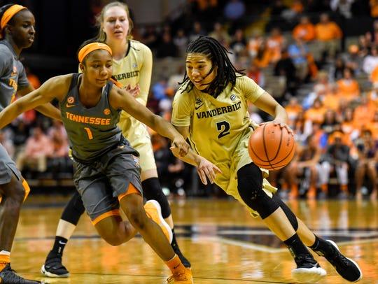 Tennessee Lady Vols Anastasia Hayes blocks Vanderbilt