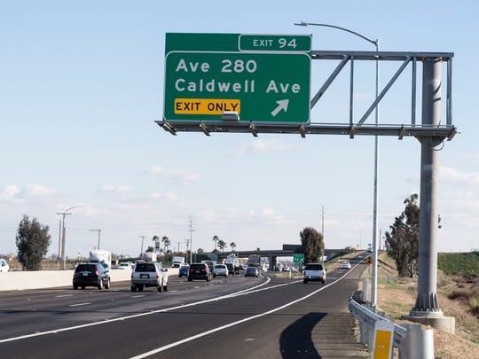 Highway 99 at the Avenue 280 exit for southbound traffic on Friday, February 23, 2018.