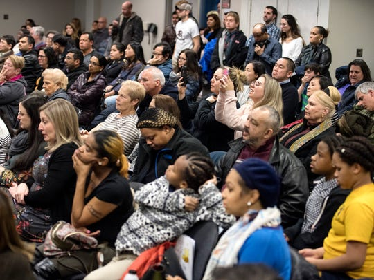 The crowd looks on during the 81st North Jersey Spelling Bee at Bergen Community College on Thursday, March 15, 2018.