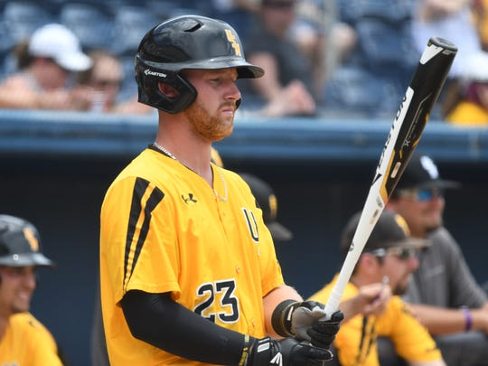 Southern Miss third baseman Luke Reynolds takes a moment to collect his thoughts before an at-bat at the Conference USA tournament.
